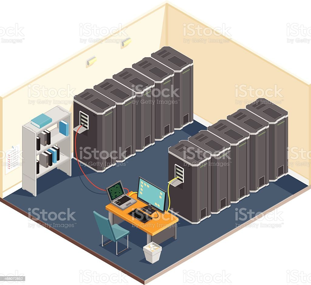 Isometric server room. vector art illustration