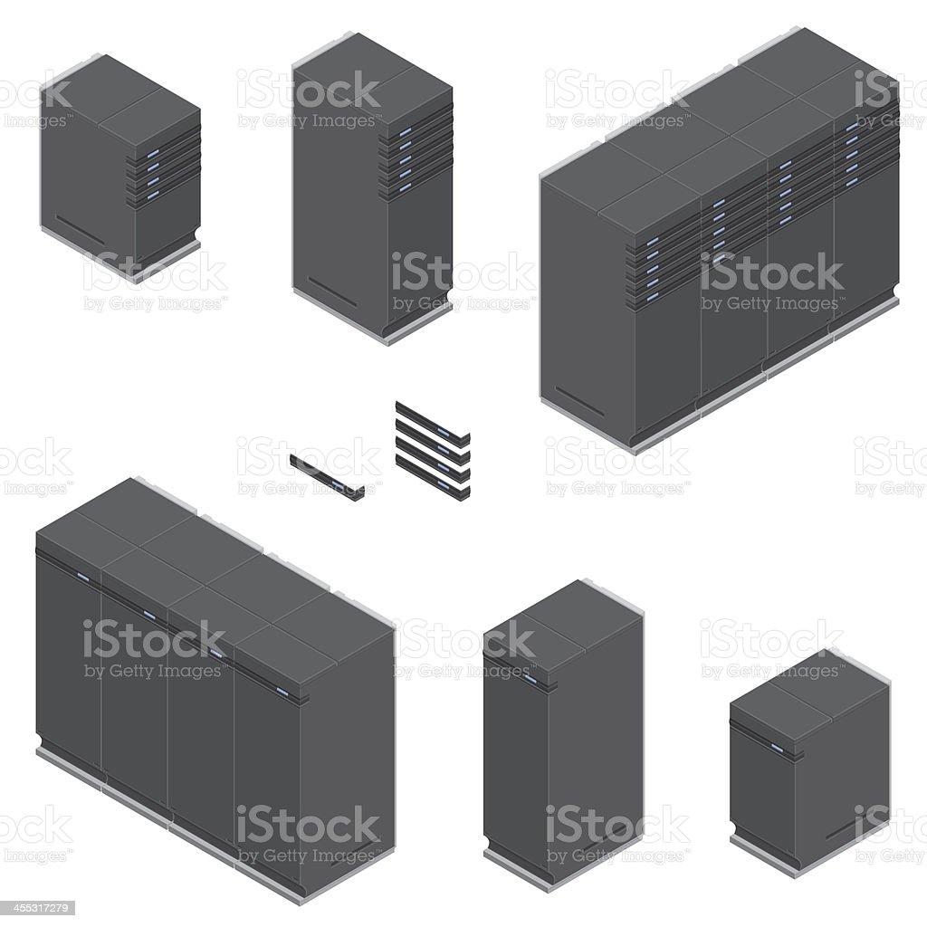 Isometric Servers vector art illustration