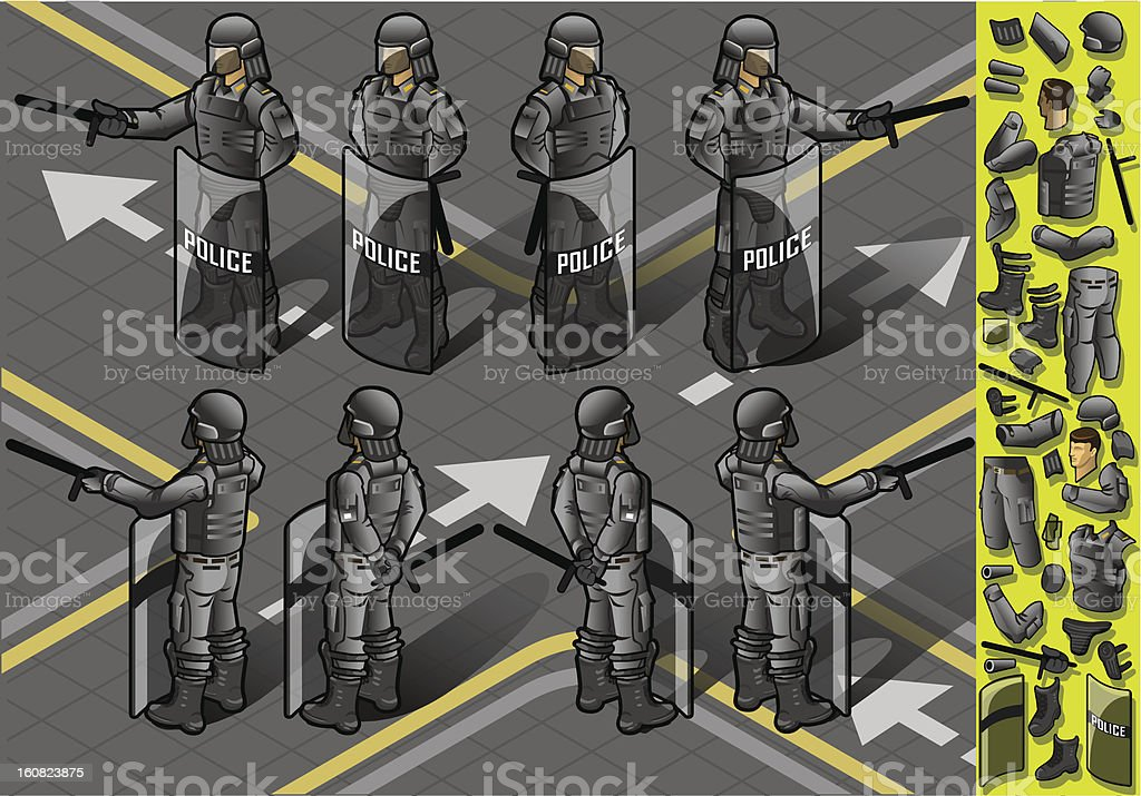 isometric set of eight policemans standing royalty-free stock vector art