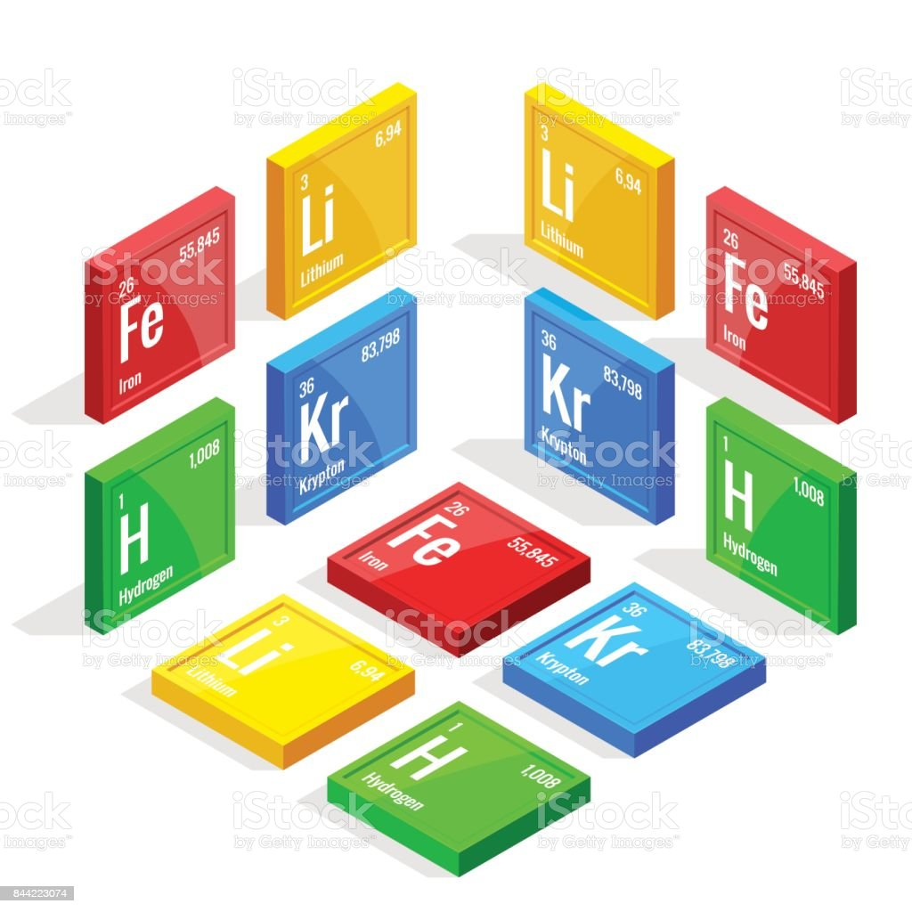 Isometric set of elements of the periodic table Mendeleev s Periodic Table. Vector illustration lithium, iron, krypton, hydrogen vector art illustration