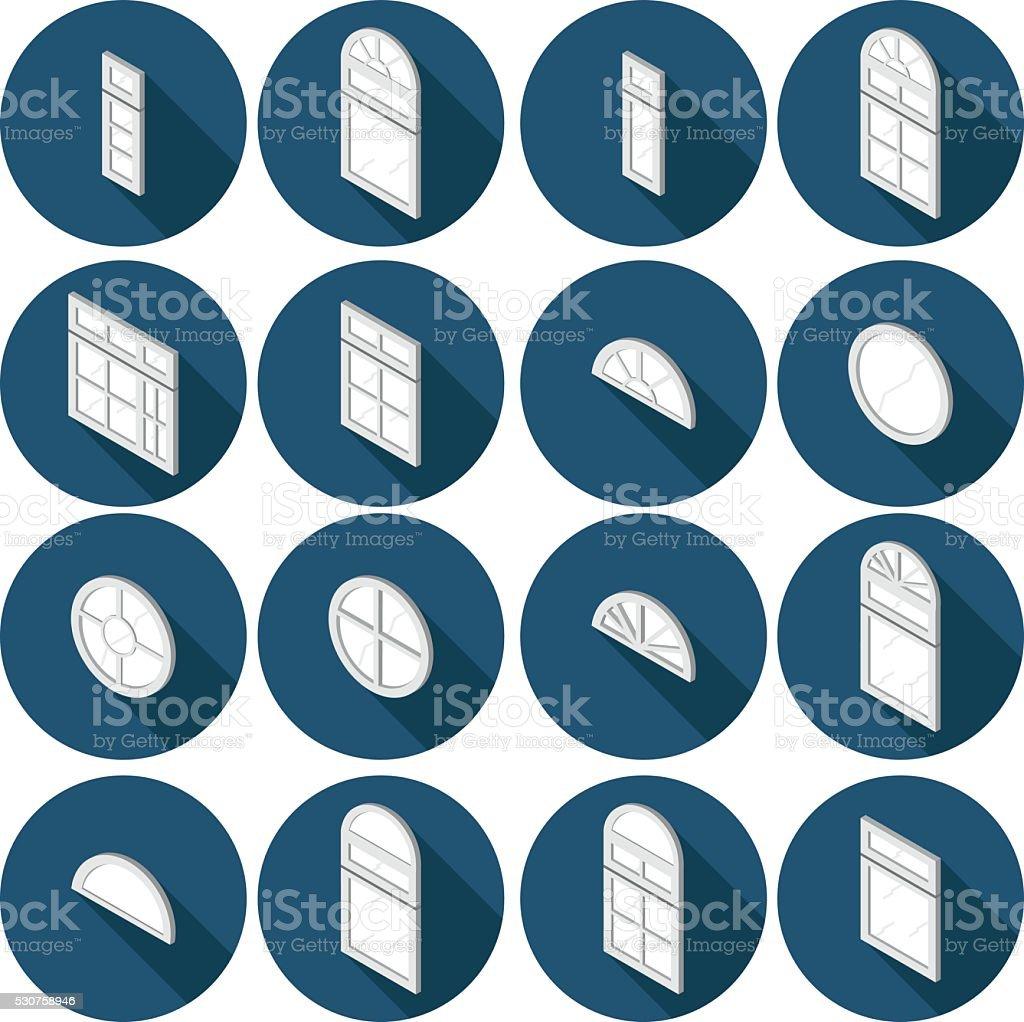 isometric set of flat icons window vector art illustration