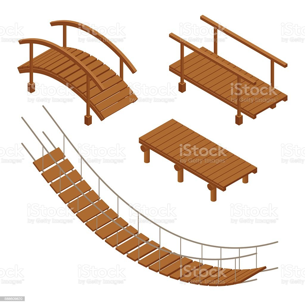 isometric set of Hanging wooden bridge vector art illustration