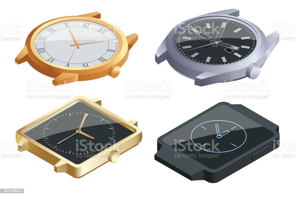 Isometric set of of wristwatches isolated on white background. Time on wrist watch concept. Flat 3d vector illustration. vector art illustration