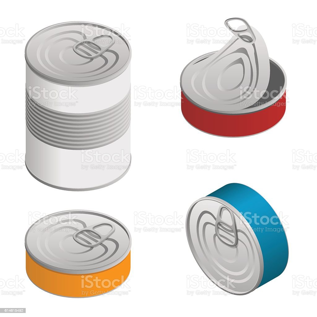 Isometric set of Opened and closed food tin cans with vector art illustration