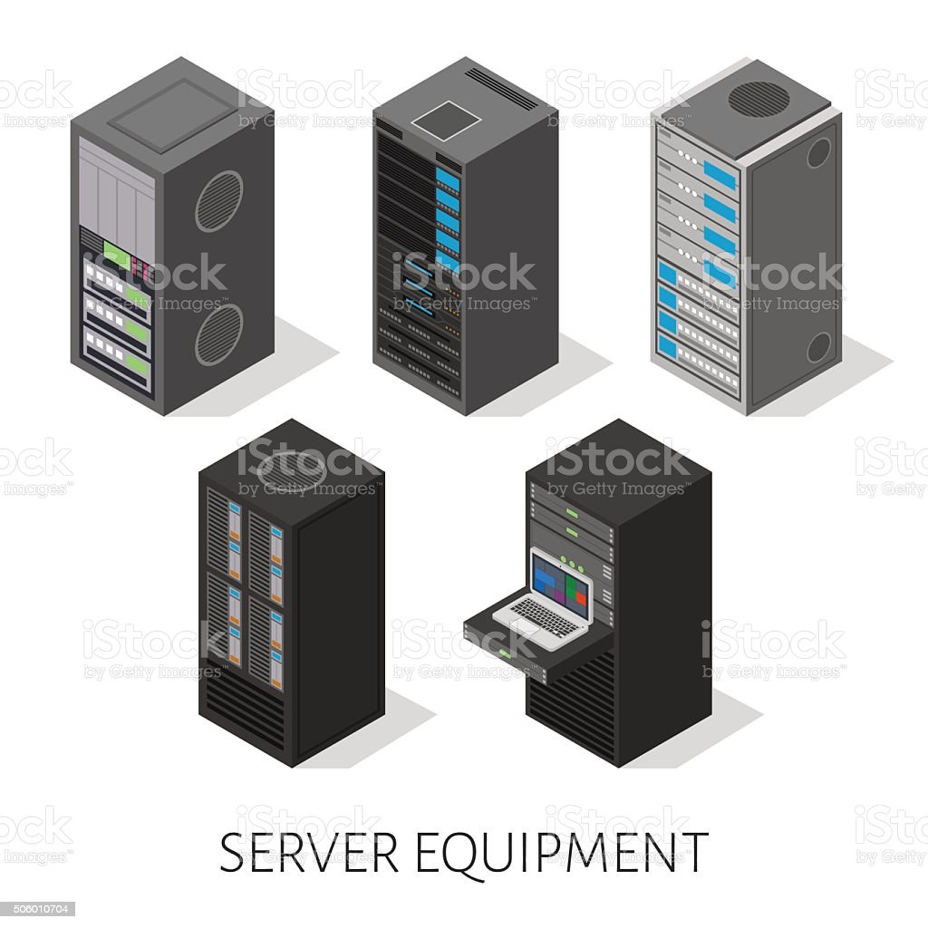 isometric set server equipment isolated background vector art illustration