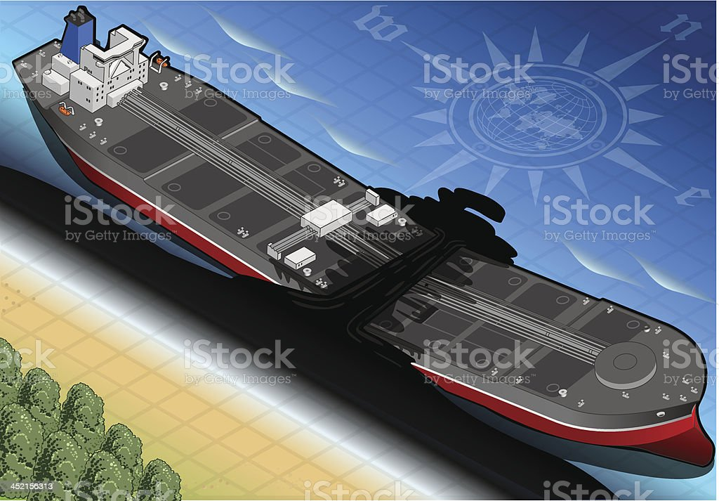 Isometric  Ship Tanker Destroyed in Two Parts on the Coast royalty-free stock vector art