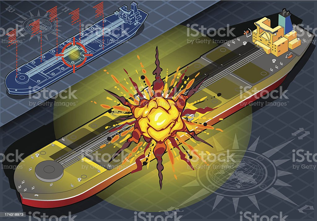 Isometric  Ship Tanker Hit by Explosion in Front View vector art illustration