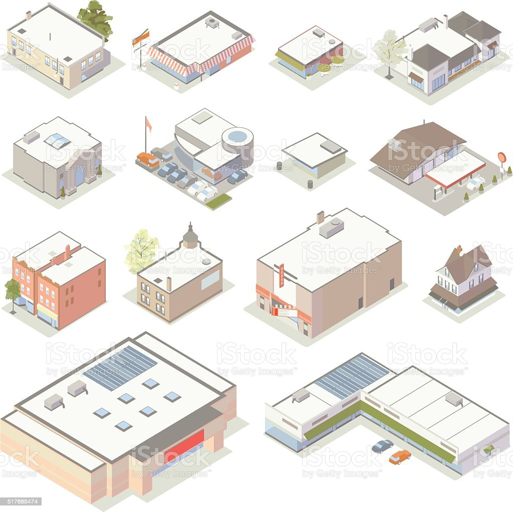 Isometric Shops and Businesses Illustration vector art illustration
