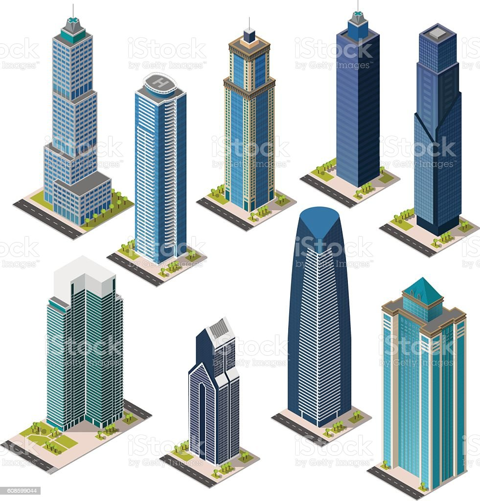 Isometric skyscraper city. Set landmarks. Isolated flat megapolis office buildings. vector art illustration
