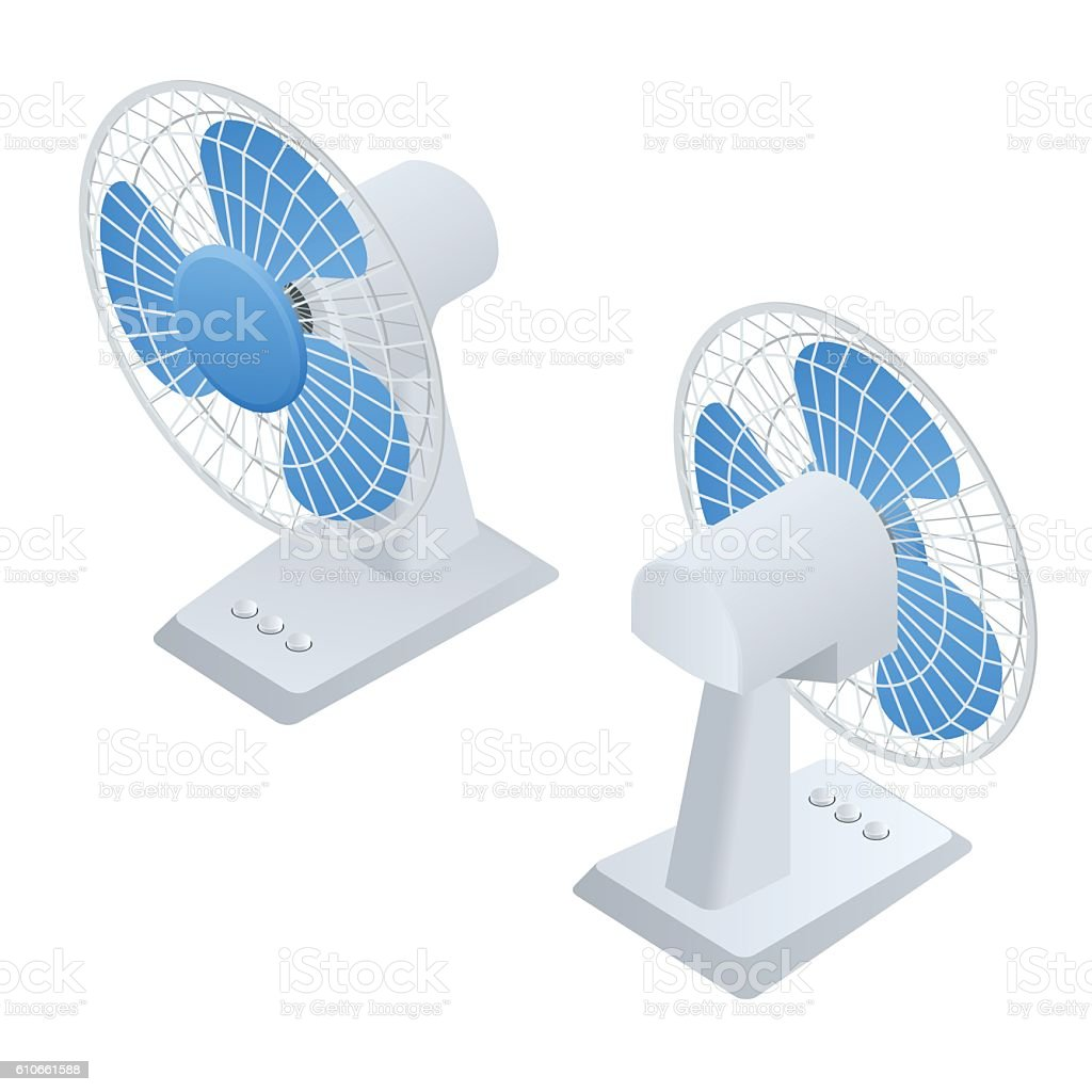 Isometric small Fan. Home climate equipment icon vector art illustration