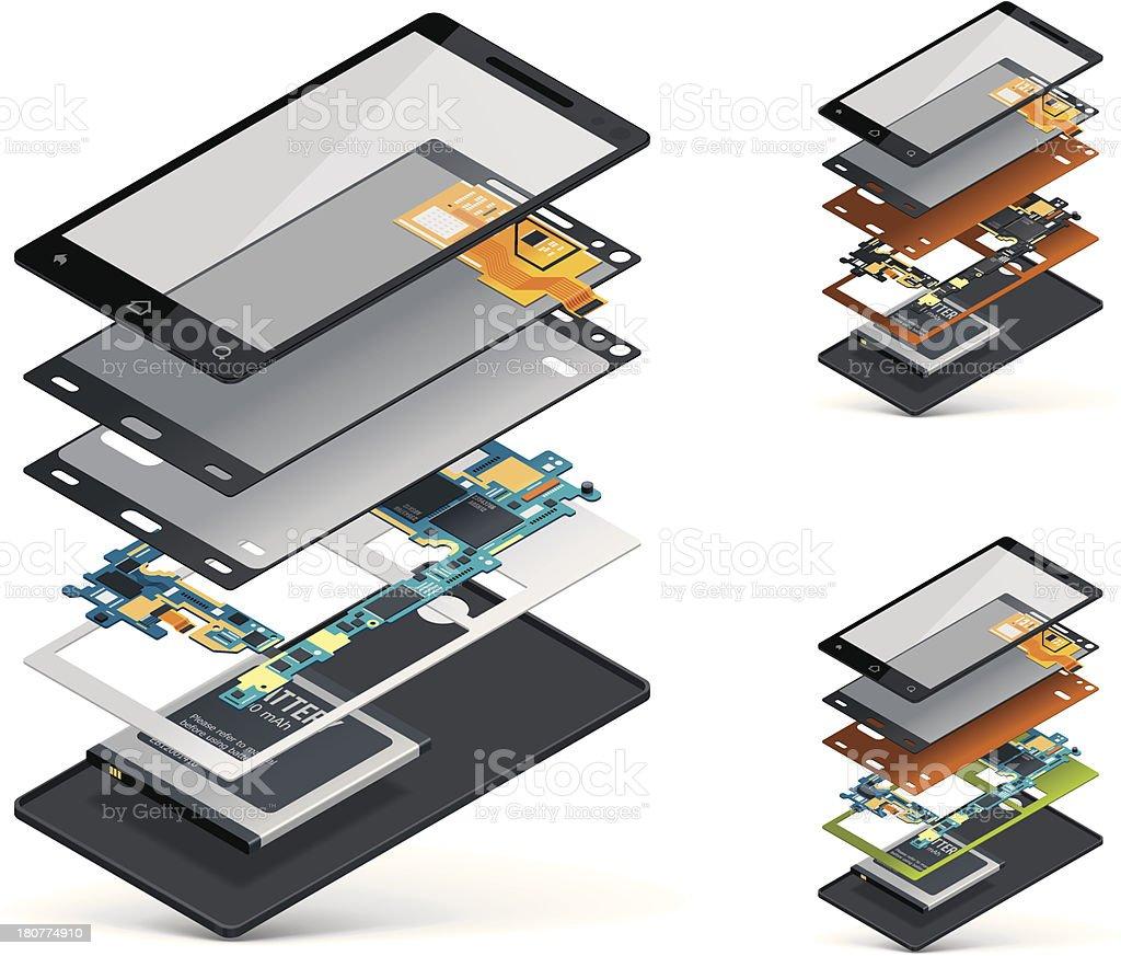 Isometric smartphone cutaway vector art illustration