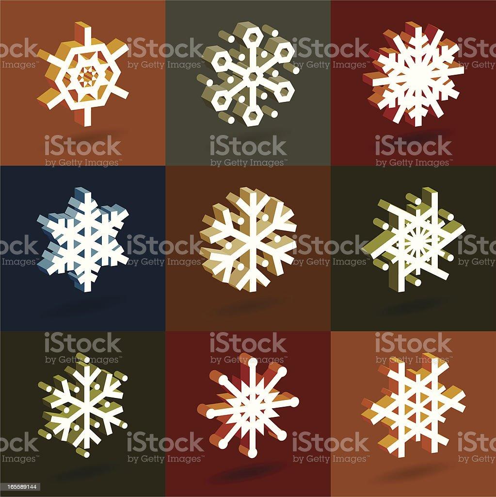 Isometric snowflakes royalty-free stock vector art