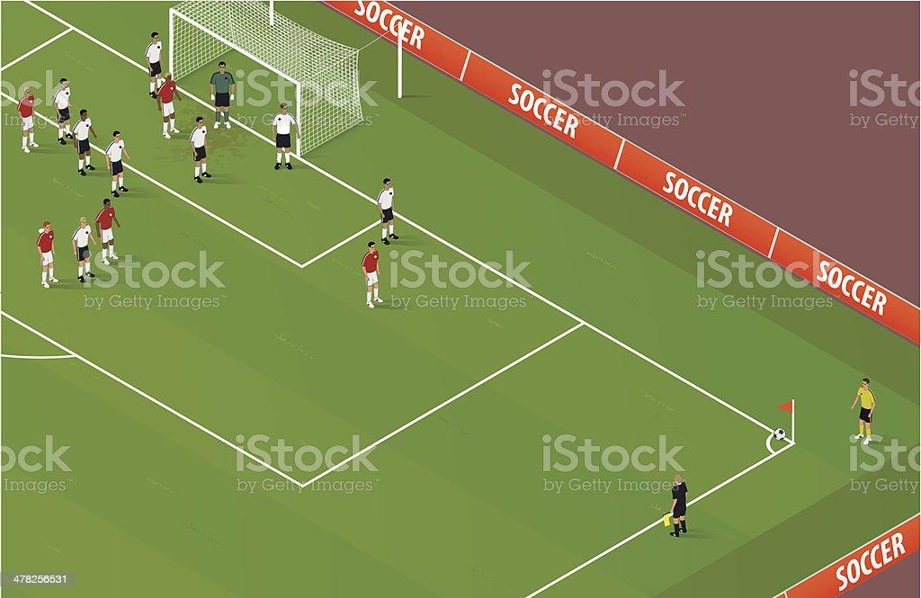 Isometric Soccer Corner Kick vector art illustration