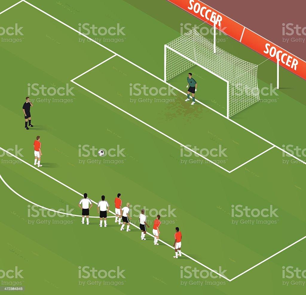 Isometric Soccer Penalty Kick vector art illustration