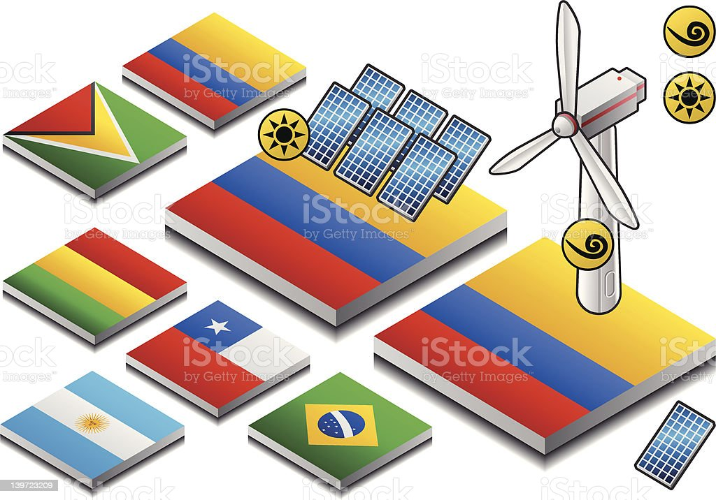 isometric  solar and wind energy on button flag royalty-free stock vector art