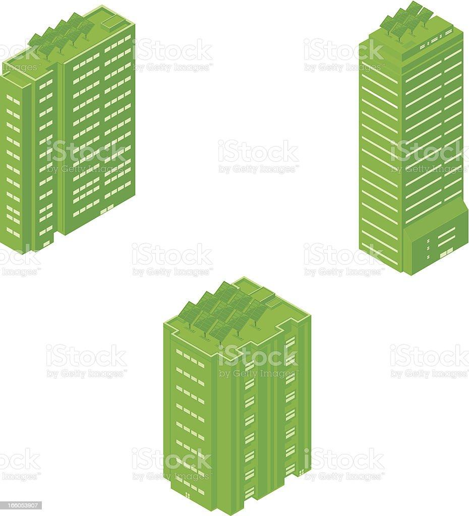 Isometric Solar Powered Office Buildings vector art illustration
