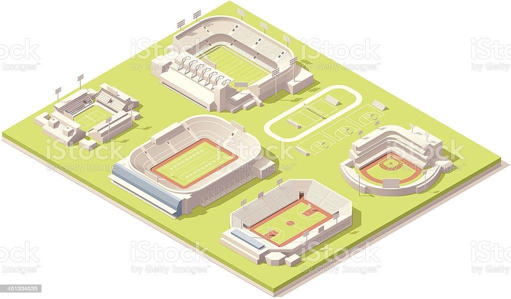 Isometric stadium buildings set vector art illustration