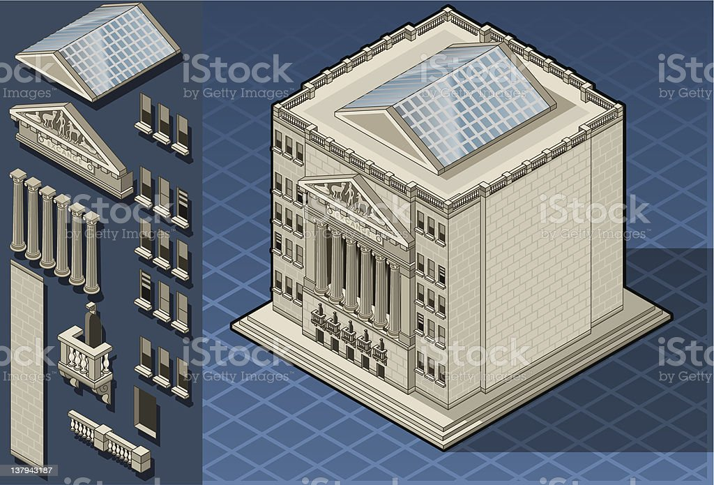 Isometric stock exchange building in new york, wall street royalty-free stock vector art