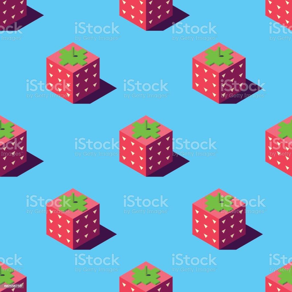 Isometric strawberries illustration. vector art illustration