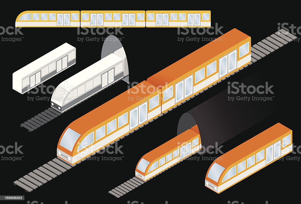 Isometric subway trains vector art illustration