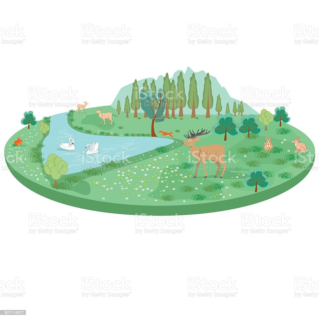 Isometric summer landscape with animals and a pond with swans royalty-free stock vector art