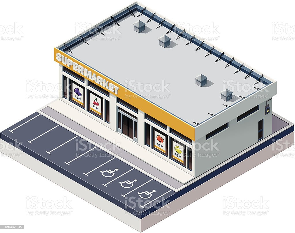 Isometric supermarket building royalty-free stock vector art