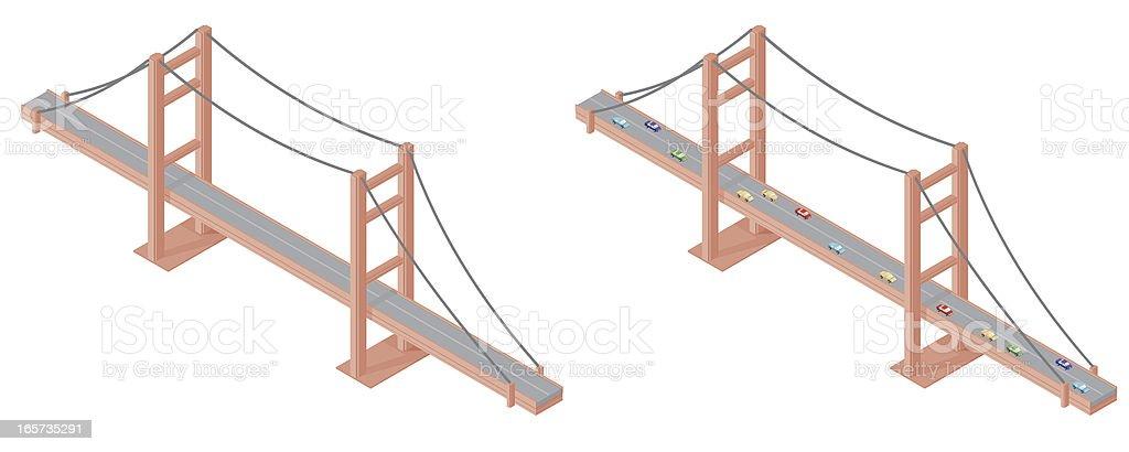 Isometric Suspension Bridge vector art illustration