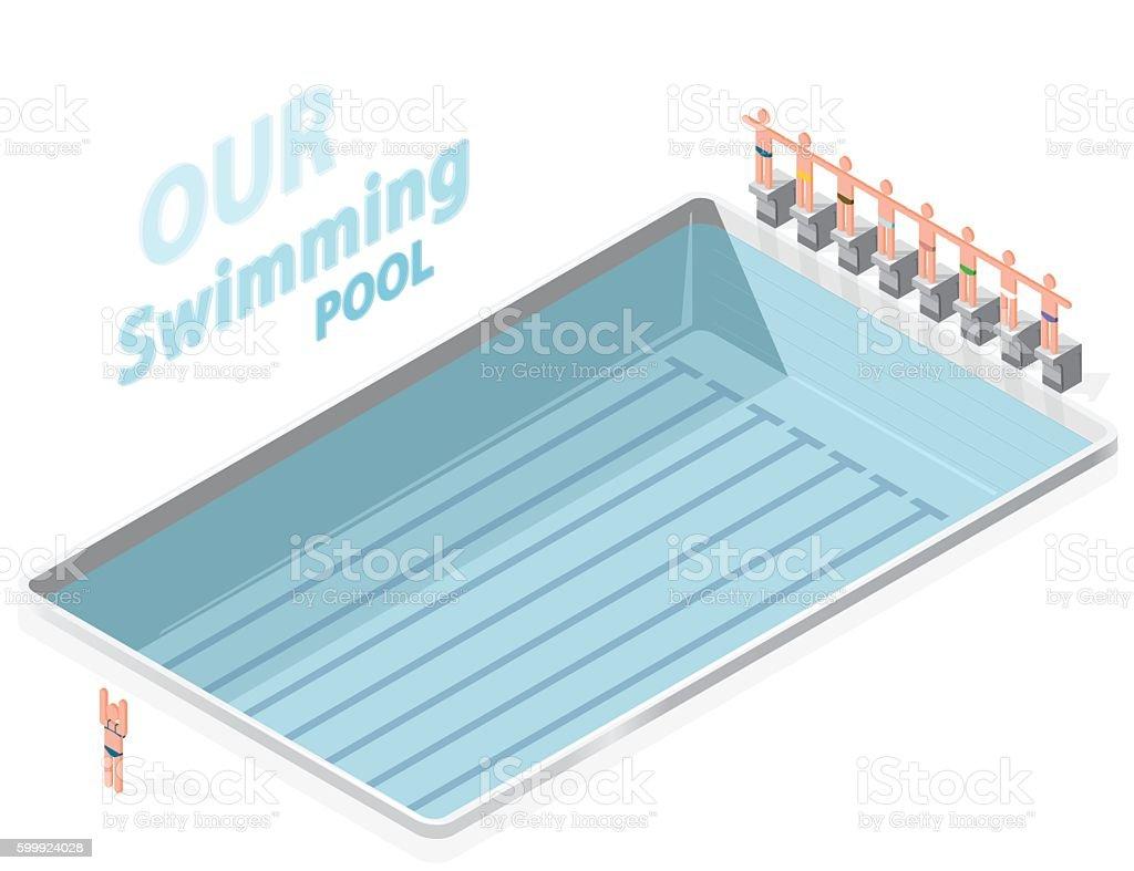 Isometric swimming pool with swimmers. Sportsmen on springboard prepare swim. vector art illustration