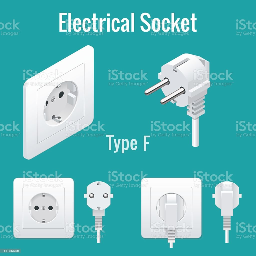 Isometric Switches and sockets set. Type F. Realistic vector illustration. vector art illustration