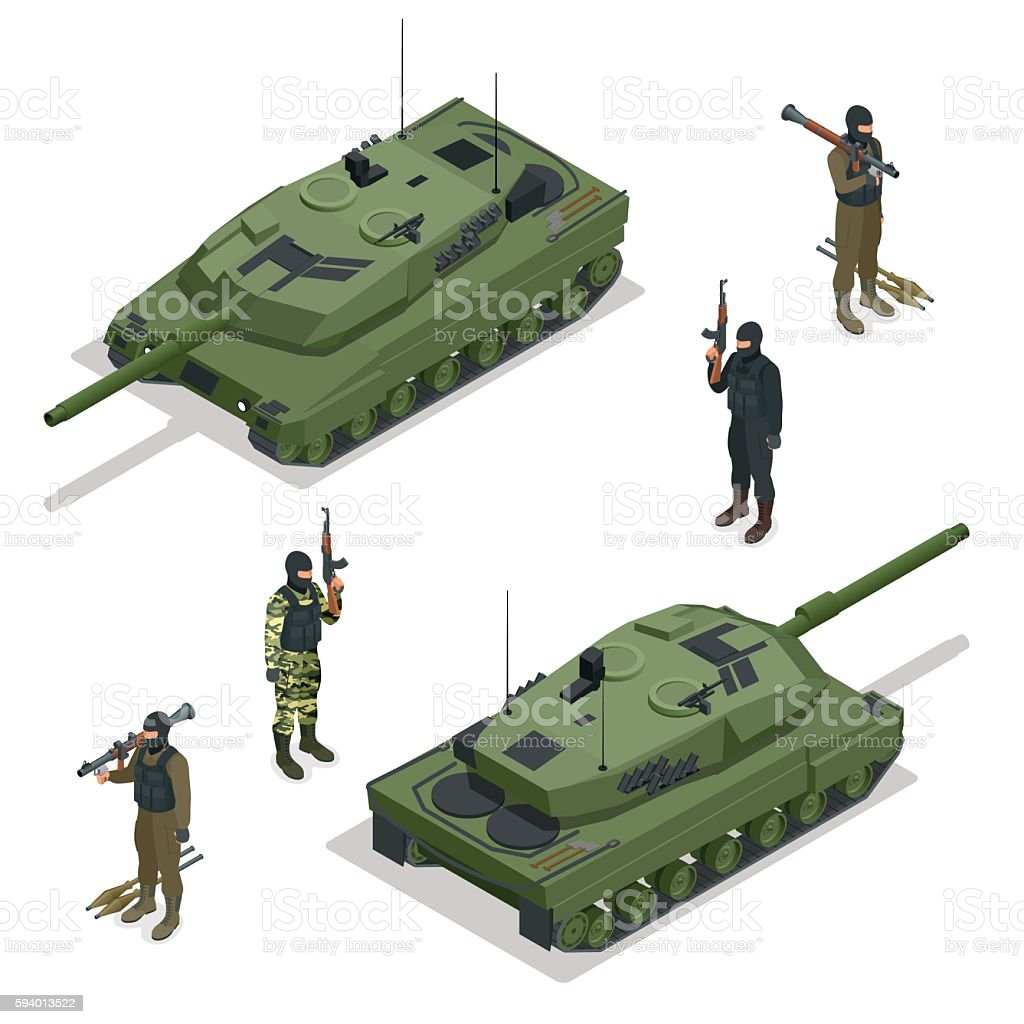 Isometric Tank and soldiers vector art illustration