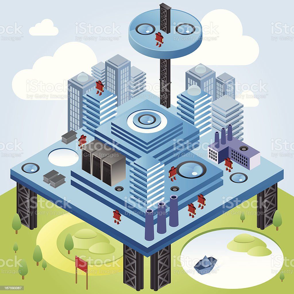 Isometric technology platform royalty-free stock vector art