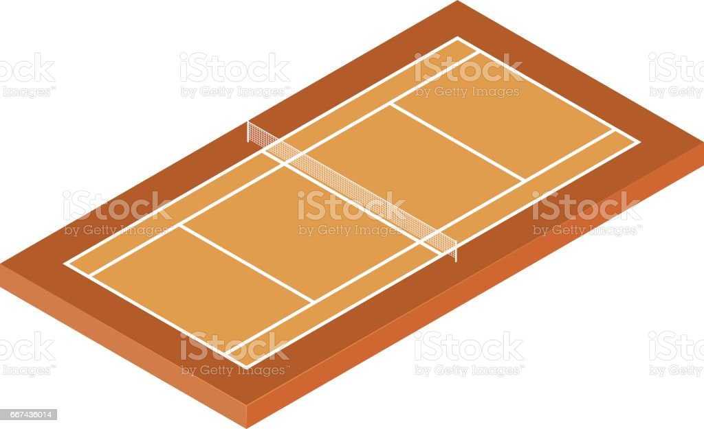 Isometric Tennis Court vector art illustration