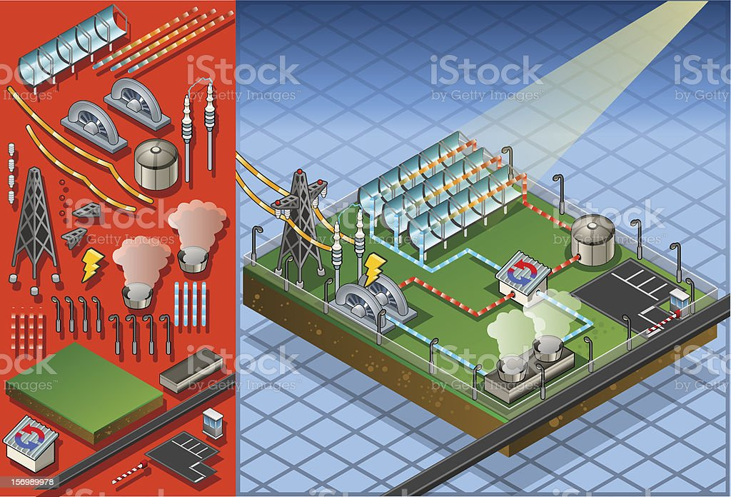 isometric termo solar plant in production of energy royalty-free stock vector art