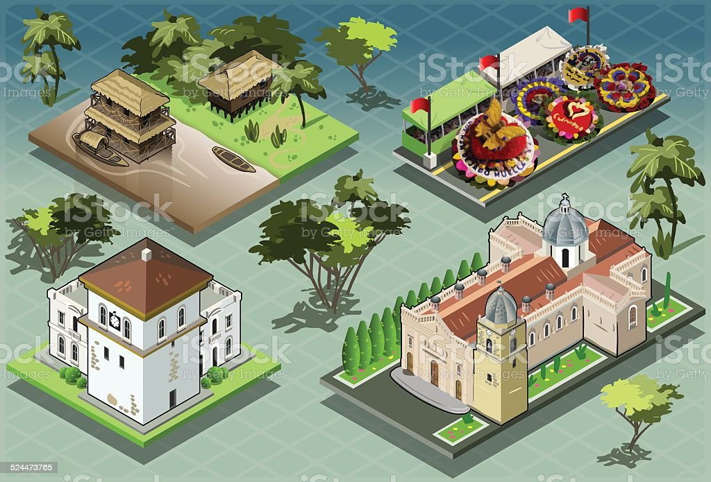 Isometric Tiles of South American Buildings vector art illustration