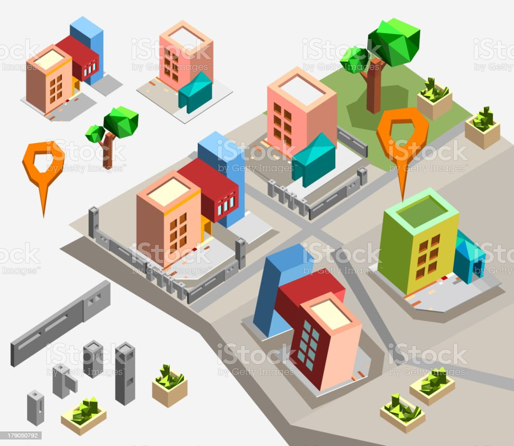 Isometric town map creation kit set royalty-free stock vector art