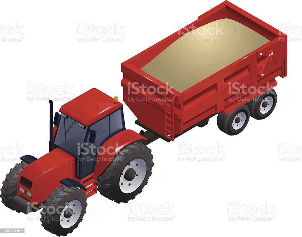 Isometric Tractor & Trailer royalty-free stock vector art