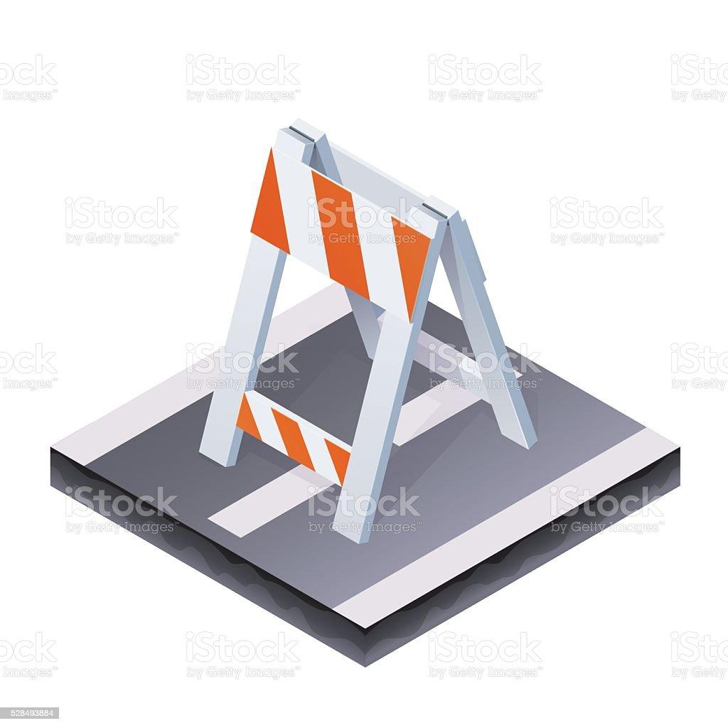 Isometric traffic barrier vector art illustration