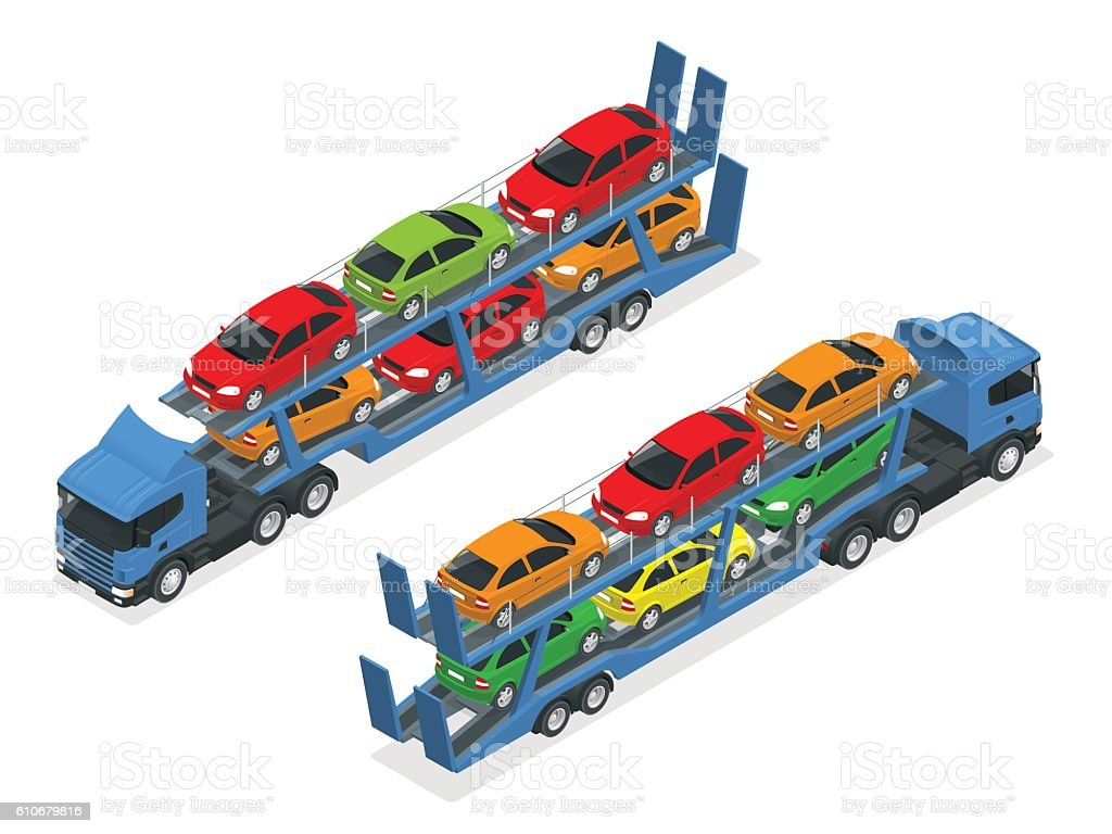 Isometric trailer transports cars vector art illustration
