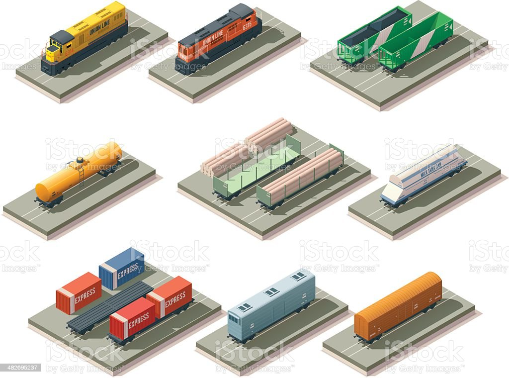Isometric trains and cars vector art illustration