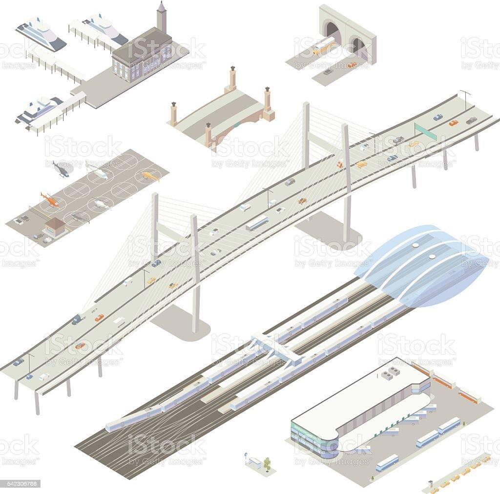 Isometric transportation structures vector art illustration