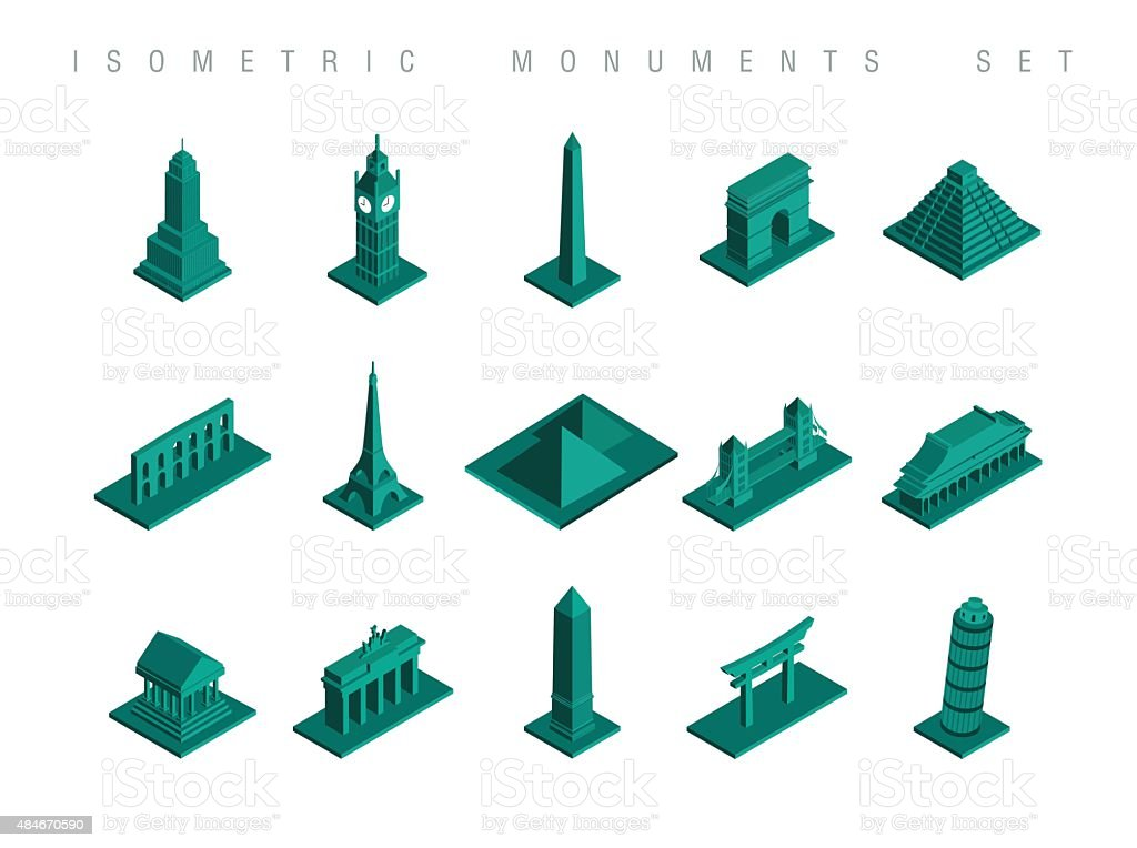 Isometric travel monuments set illustration vector art illustration