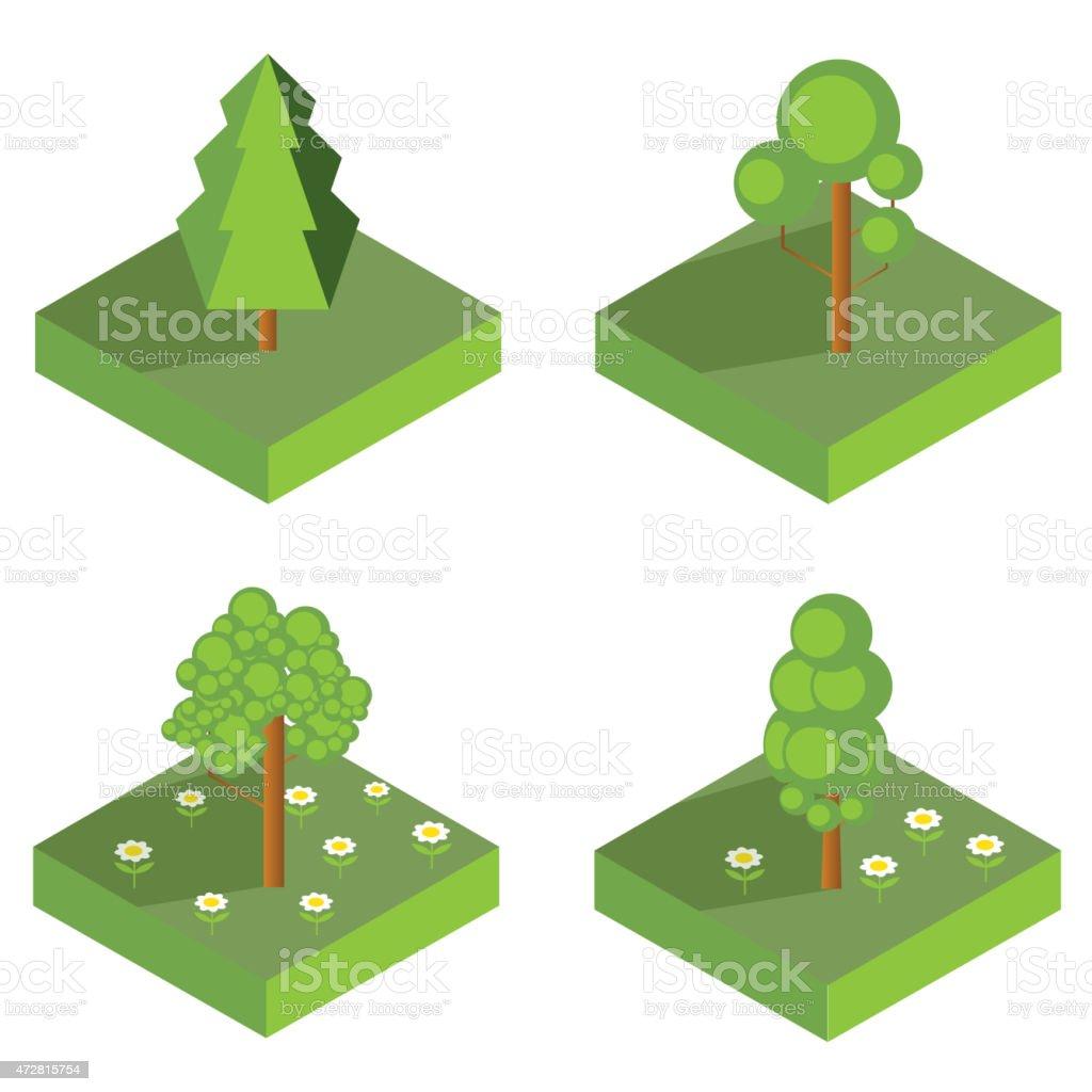 isometric tree icons vector vector art illustration