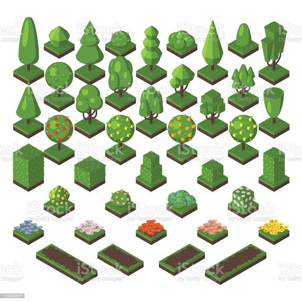 Isometric tree set green forest nature vector illustration vector art illustration