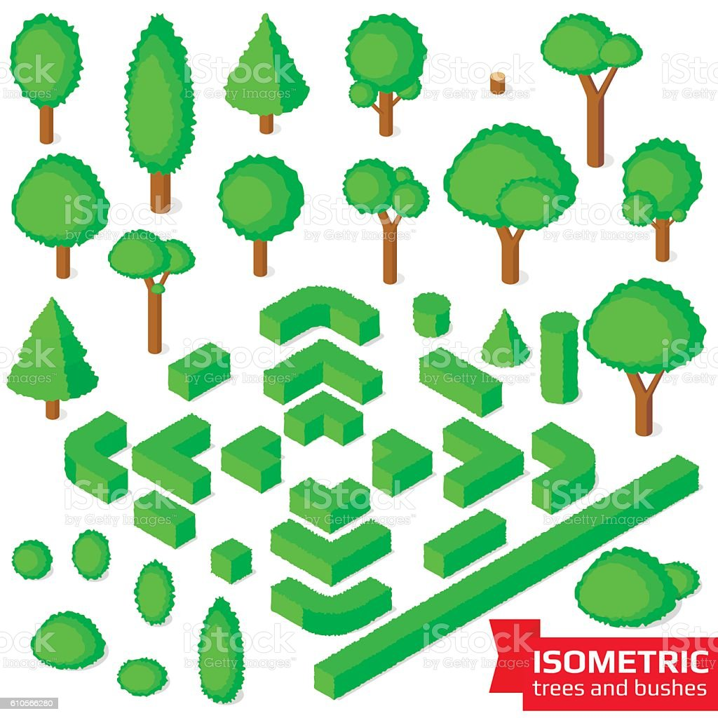 Isometric trees, hedge and bushes vector art illustration