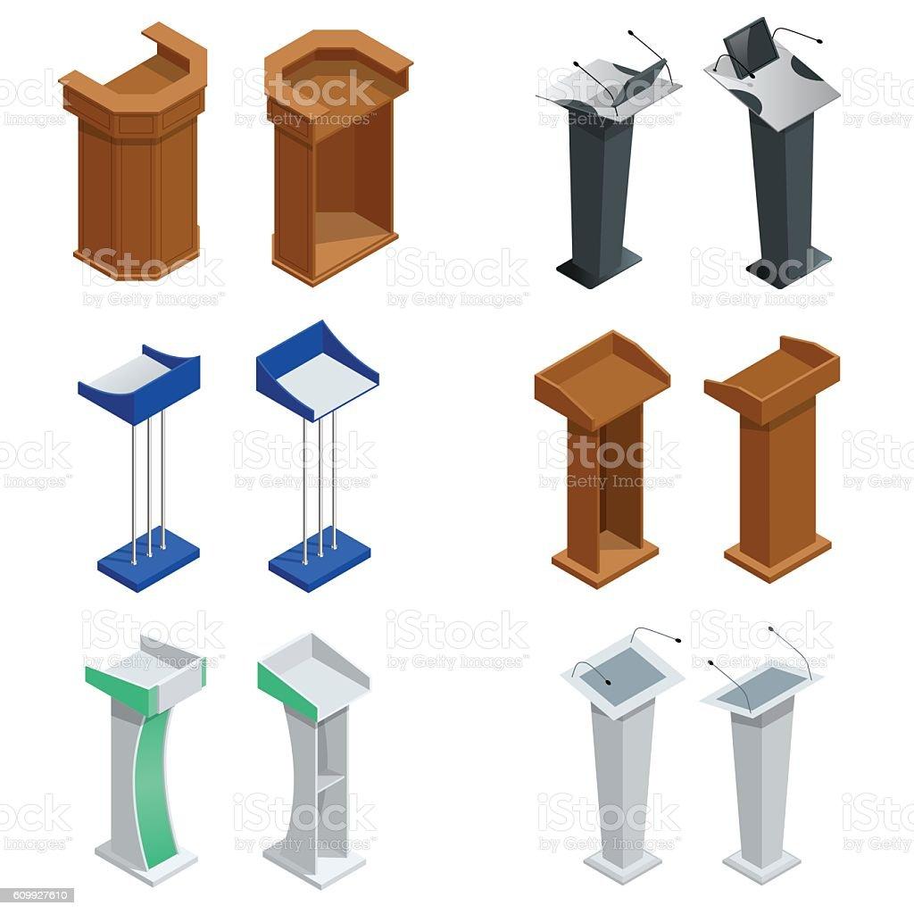 Isometric tribune with microphones vector art illustration