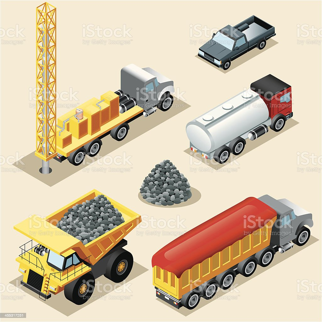 Isometric, Trucks vector art illustration