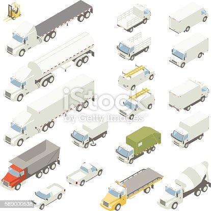 Isometric Trucks illustration