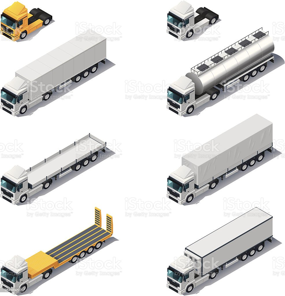 Isometric trucks with semi-trailers vector art illustration
