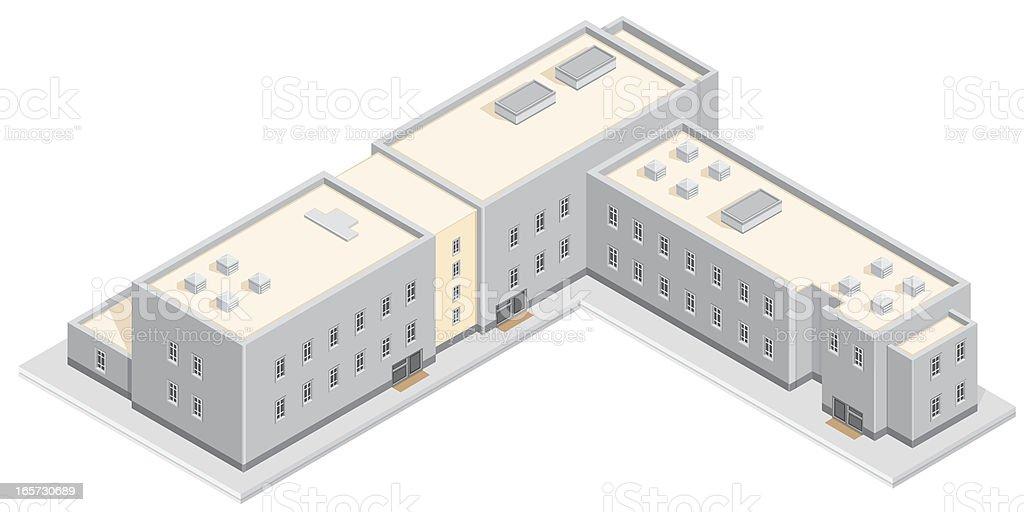 Isometric University Building. royalty-free stock vector art