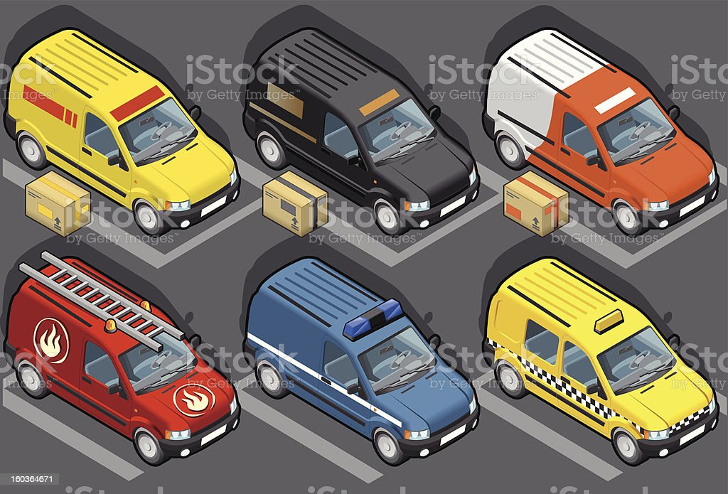 Isometric van in six models, delivery, firefighters, police, taxi vector art illustration